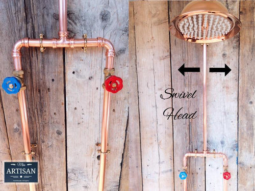 Copper Pipe Rainfall Shower With Down Pipes - Miss Artisan