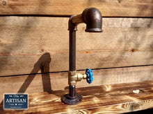 Load image into Gallery viewer, Miss Artisan - 1 x Rusty Old Cast Iron Tap - Blue Handle - Rustic / Industrial / Vintage Handmade Furniture