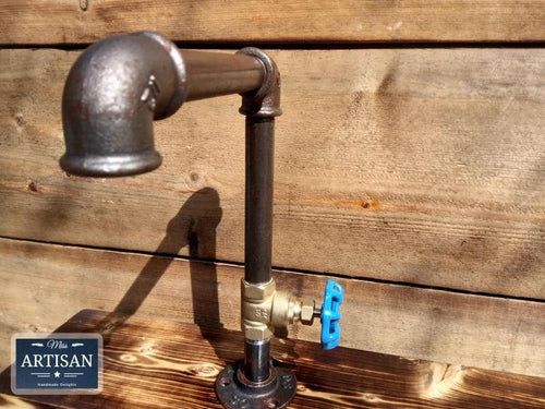 1 x Rusty Old Cast Iron Tap - Blue Handle - Miss Artisan