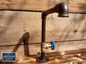 Miss Artisan - 1 x Rusty Old Cast Iron Tap - Blue Handle - Rustic / Industrial / Vintage Handmade Furniture