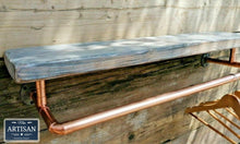 Load image into Gallery viewer, Reclaimed Burnt Charcoal Shelf With Copper Clothes Rail - Miss Artisan