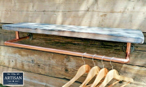 Reclaimed Burnt Charcoal Shelf With Copper Clothes Rail - Miss Artisan