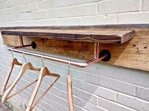 Miss Artisan - Rustic Shelf With Copper Clothes Rail - Rustic / Industrial / Vintage Handmade Furniture