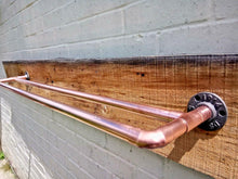 Load image into Gallery viewer, Miss Artisan - Double Copper Pipe Towel Rail - Rustic / Industrial / Vintage Handmade Furniture