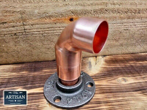 Miss Artisan - 28mm Copper Pipe Elbow Flange - Rustic / Industrial / Vintage Handmade Furniture
