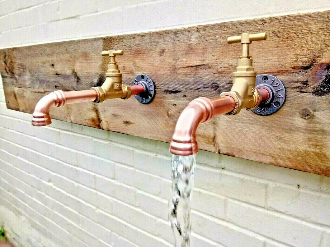 Miss Artisan - Pair Of Copper Pipe Wall Mounted Taps - Rustic / Industrial / Vintage Handmade Furniture