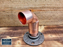 Load image into Gallery viewer, Miss Artisan - 28mm Copper Pipe Elbow Flange - Rustic / Industrial / Vintage Handmade Furniture