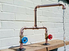 Load image into Gallery viewer, Miss Artisan - Copper Pipe Double Sink Mixer Swivel Taps - Rustic / Industrial / Vintage Handmade Furniture