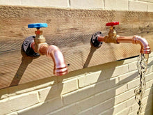 Load image into Gallery viewer, Miss Artisan - Pair Of Copper Pipe Wall Mounted Taps - Rustic / Industrial / Vintage Handmade Furniture