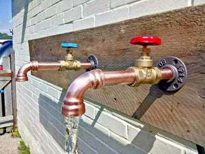 Miss Artisan - Pair Of Copper Pipe Wall Mounted Faucet Taps - Rustic / Industrial / Vintage Handmade Furniture