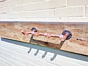 Miss Artisan - Copper Pipe Coat Hooks - Rustic / Industrial / Vintage Handmade Furniture