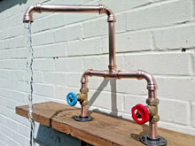 Load image into Gallery viewer, Miss Artisan - Copper Pipe Double Sink Mixer Swivel Faucet Taps - Rustic / Industrial / Vintage Handmade Furniture