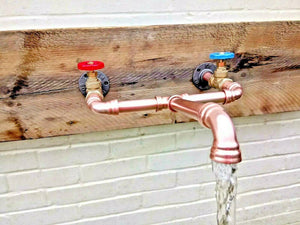 Miss Artisan - Wall Mounted Copper Pipe Mixer Faucet Taps - Rustic / Industrial / Vintage Handmade Furniture