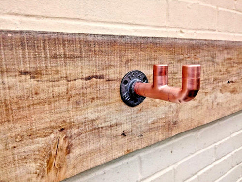 Miss Artisan - Double Copper Pipe Hook Straight - Rustic / Industrial / Vintage Handmade Furniture