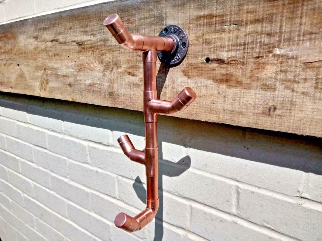 Miss Artisan - Copper Pipe Drop 4 Hook - Rustic / Industrial / Vintage Handmade Furniture