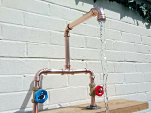 Miss Artisan - Copper Pipe Double Sink Mixer Swivel Taps - Rustic / Industrial / Vintage Handmade Furniture