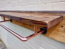 Load image into Gallery viewer, Rustic Shelf With Copper Clothes Rail - Miss Artisan