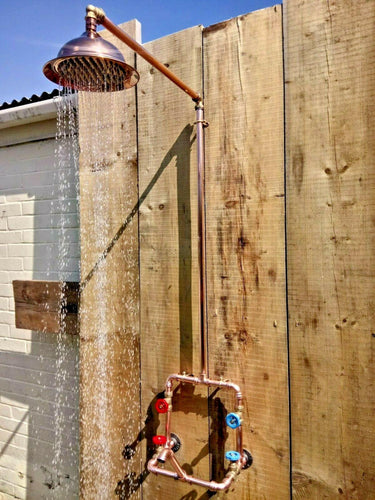 Copper Rainfall Shower With Faucet Tap - Miss Artisan