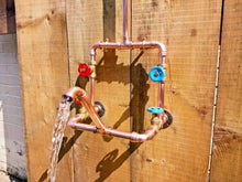 Load image into Gallery viewer, Miss Artisan - Copper Rainfall Shower With Faucet Tap - Rustic / Industrial / Vintage Handmade Furniture