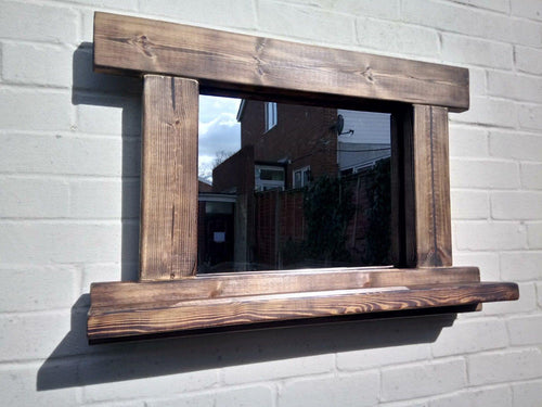 Reclaimed Solid Wood Rustic Mirror With Shelf - Style 3 - Miss Artisan
