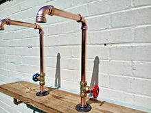 Load image into Gallery viewer, Miss Artisan - Pair Of Copper Pipe Swivel Taps - Rustic / Industrial / Vintage Handmade Furniture