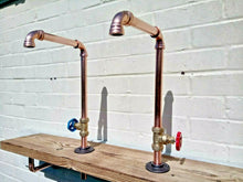 Load image into Gallery viewer, Miss Artisan - Pair Of Copper Pipe Swivel Faucet Taps - Rustic / Industrial / Vintage Handmade Furniture