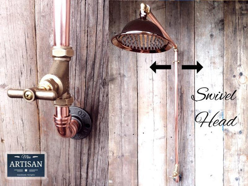Miss Artisan - Single Handle Rainfall Copper Pipe Shower - Rustic / Industrial / Vintage Handmade Furniture