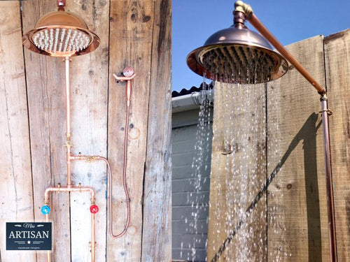 Copper Pipe Rainfall Shower With Down Pipes And Sprayer - Miss Artisan