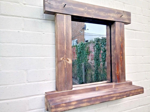 Reclaimed Solid Wood Rustic Mirror With Shelf - Style 2 - Miss Artisan