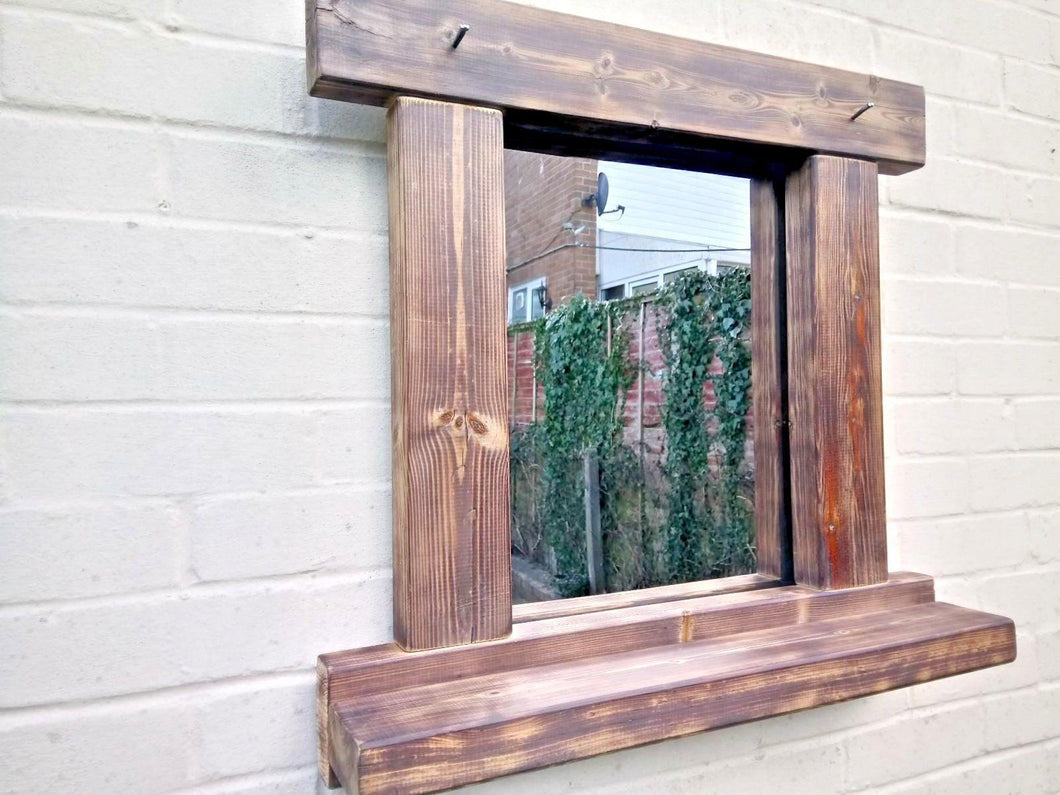Miss Artisan - Reclaimed Solid Wood Rustic Mirror With Shelf - Style 2 - Rustic / Industrial / Vintage Handmade Furniture