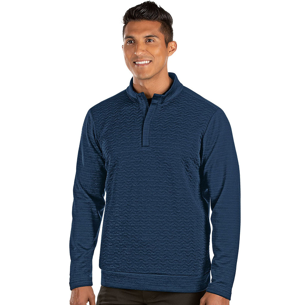 Men's Antigua Analog 1/2 Zip Pullover Navy / Dark Denim Heather