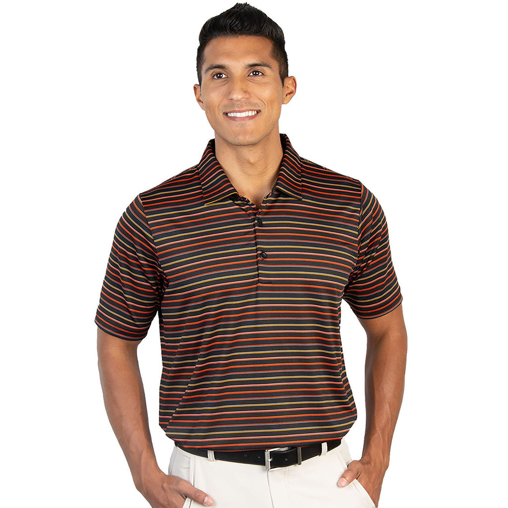 Men's Antigua Draw Short Sleeve Polo Black / Coral Multi