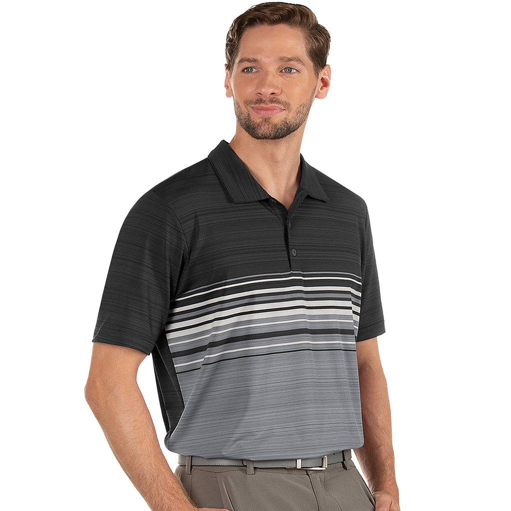 Men's Antigua Dusk Short Sleeve Polo Black Heather Multi