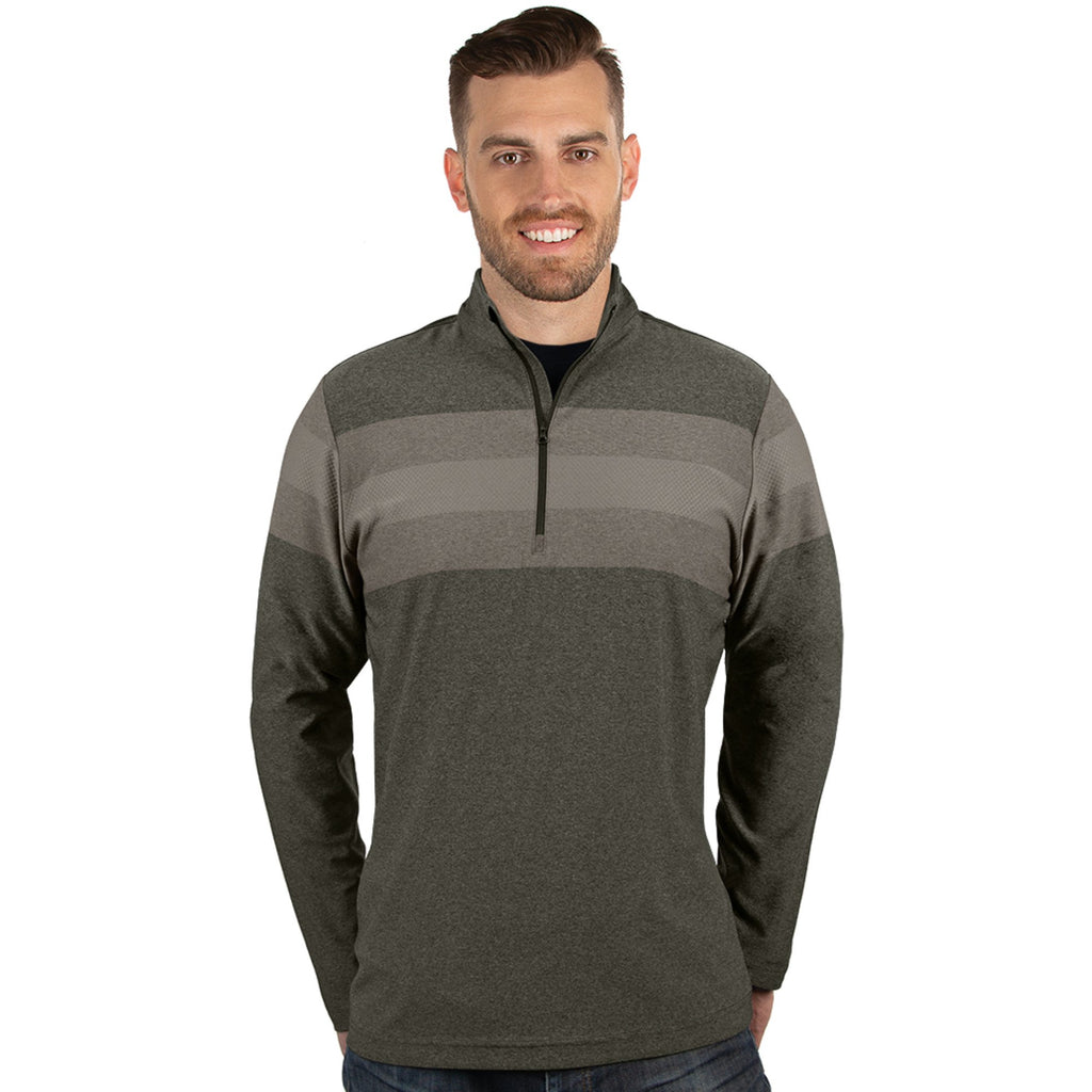 Men's Antigua Roam 1/2 Zip Pullover Dark Brindle Heather Multi