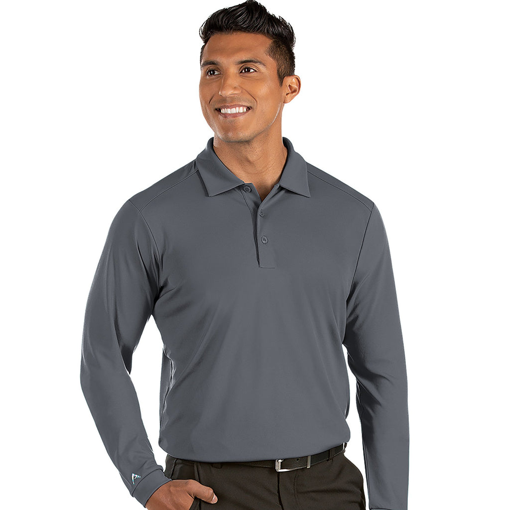Men's Antigua Tribute Long Sleeve Polo Dark Cinder