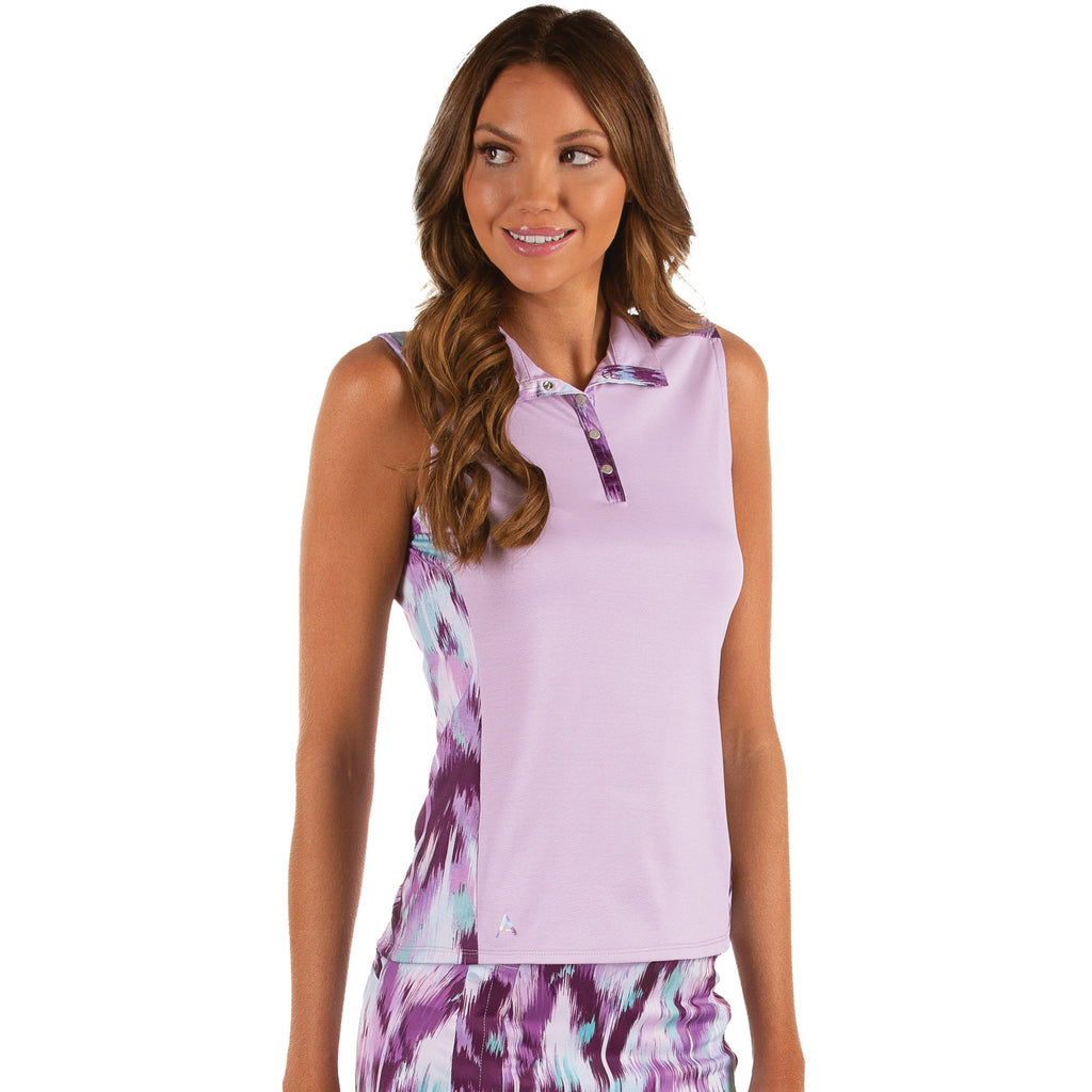 Women's Antigua Olympia Sleeveless Polo Plum Multi