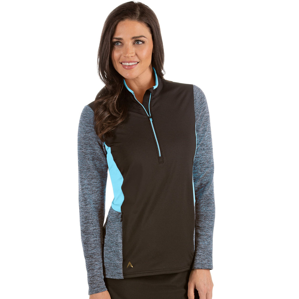 Women's Antigua Paradox 1/2 Zip Pullover Black / Aegean Multi