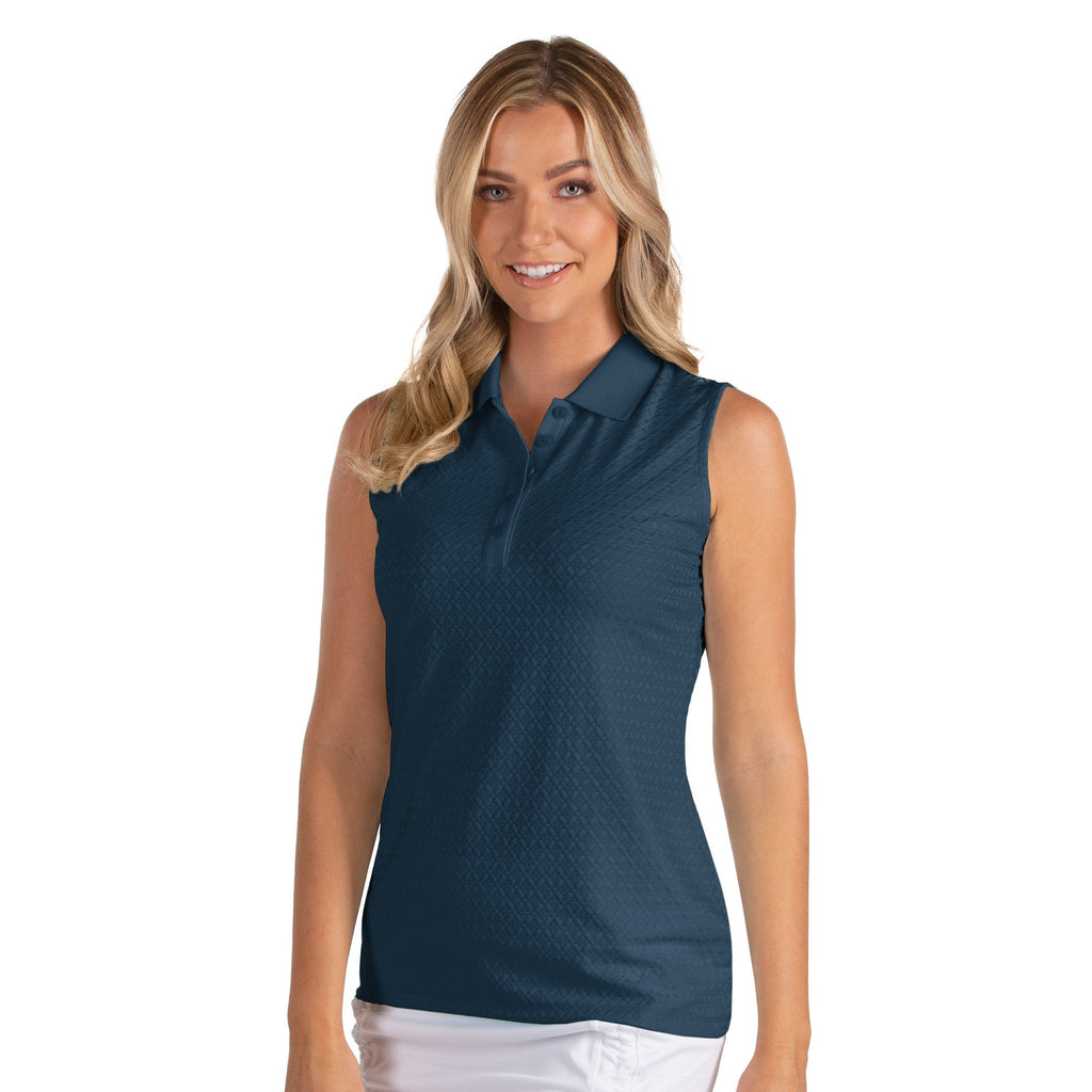 Women's Antigua Pearl Sleeveless Polo Navy