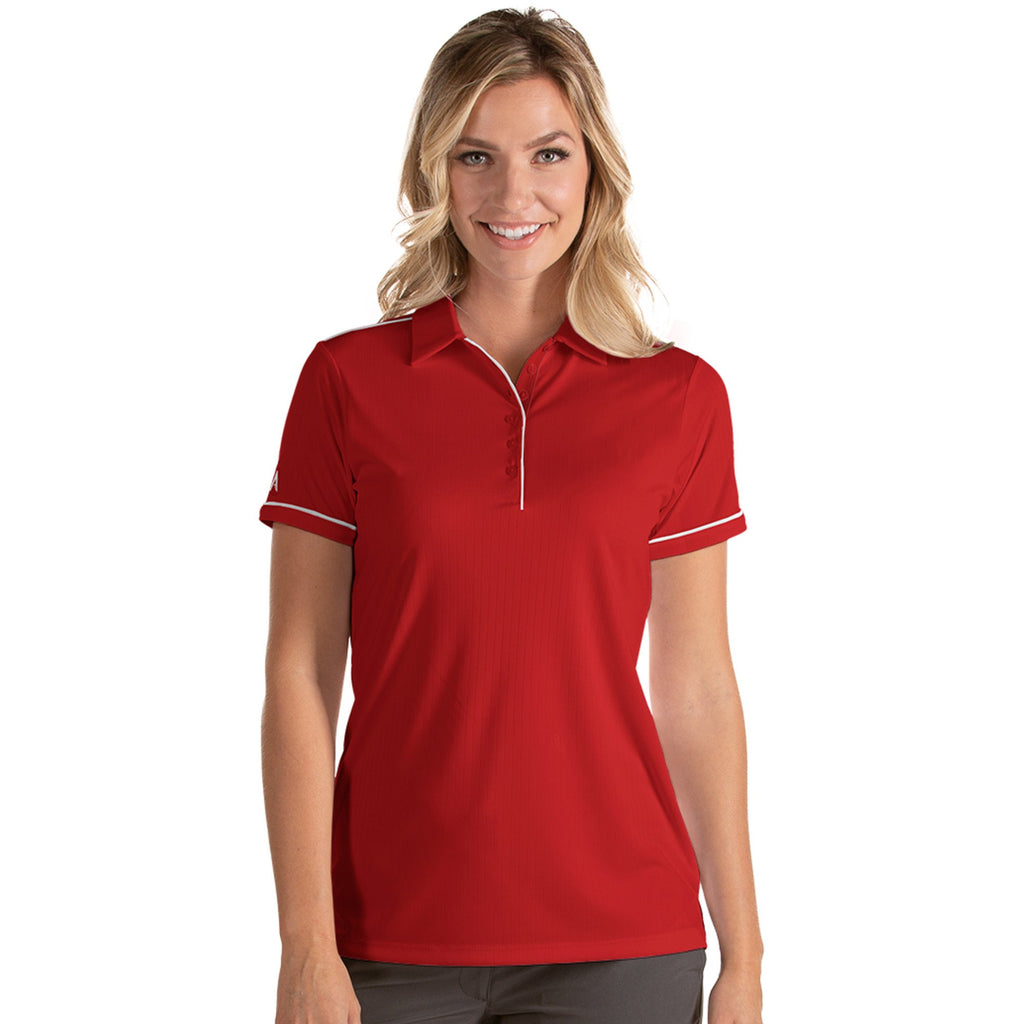 Women's Antigua Salute Short Sleeve Polo Dark Red / White