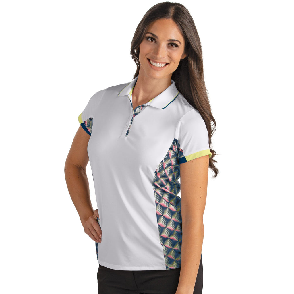 Women's Antigua Tike Polo White / Navy / Chardonnay
