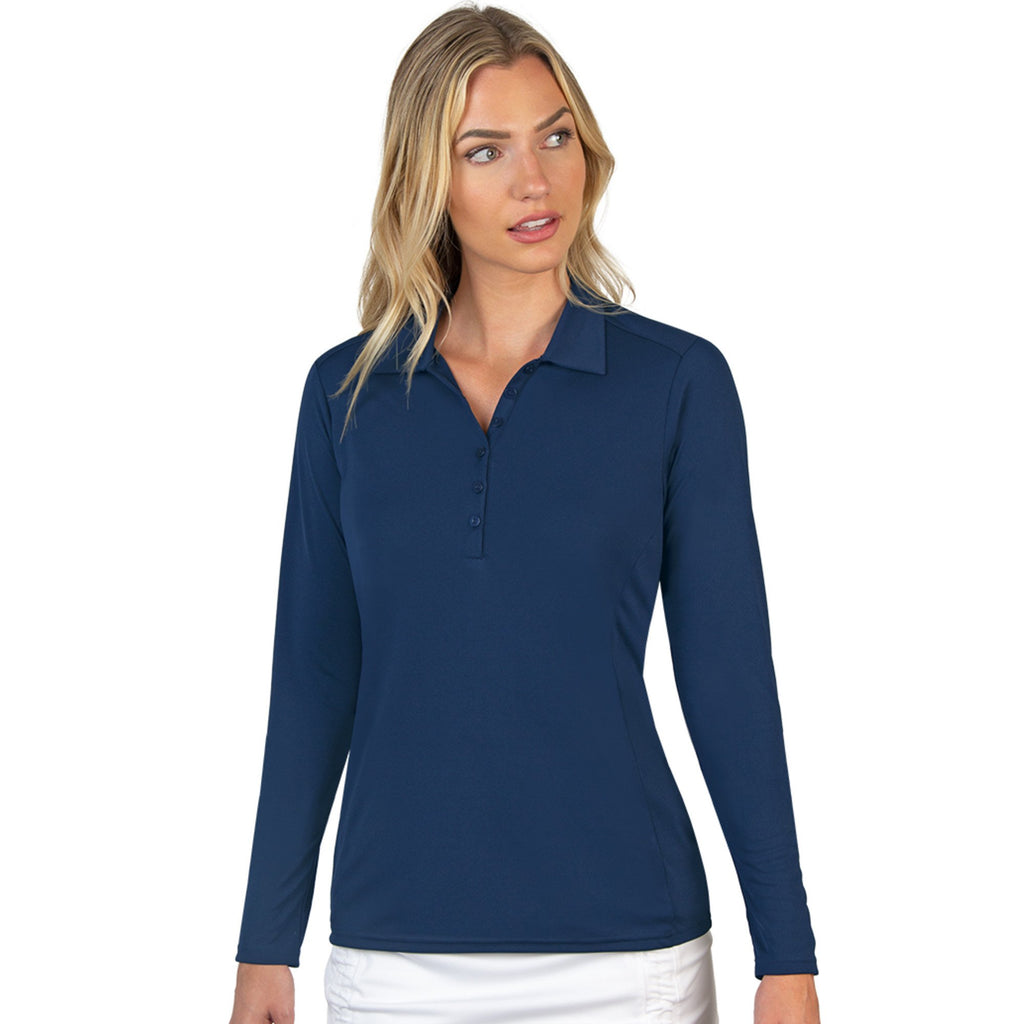 Women's Antigua Tribute Long Sleeve Polo Navy