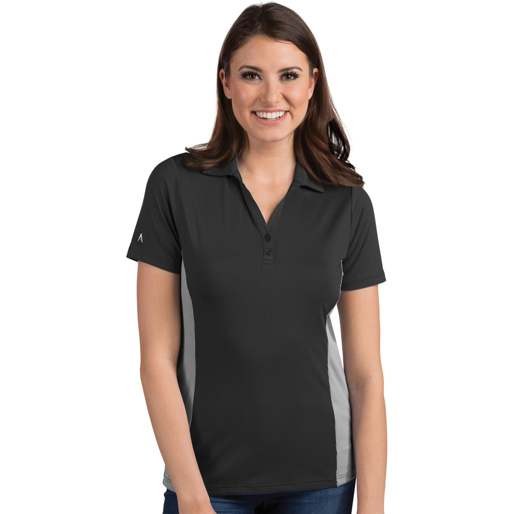 Women's Antigua Venture Polo Black / White