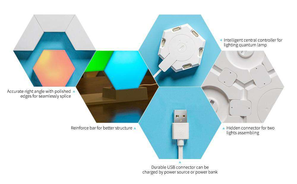 Wifi Smart Hex LED Wall Light With Sound Mode- Hex Touch Lights