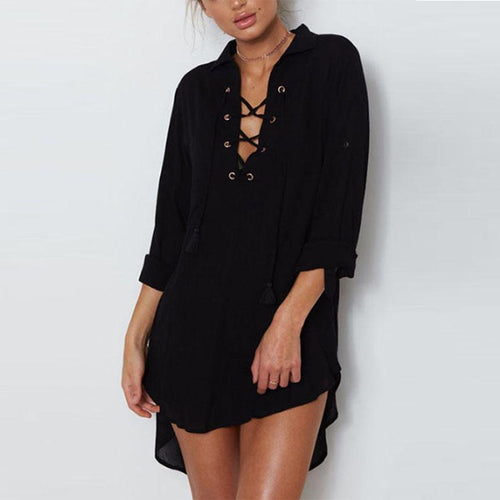 Deep V Neck  Asymmetric Hem Lace Up  Plain  Long Sleeve Casual Dresses