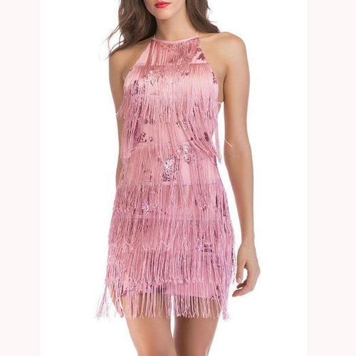 Sexy Backless Hanging Neck Tassel Strap Mini Dress
