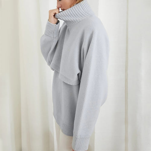 Women's Fashion Solid Turtleneck Knit Sweater