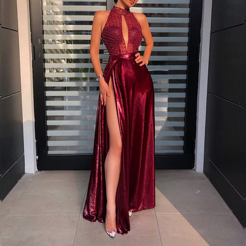 Ladies Fashion Red High Slit Evening Dress