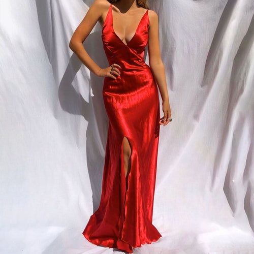 Sexy V Neck Sleeveless Pure Colour Slit Maxi Dress