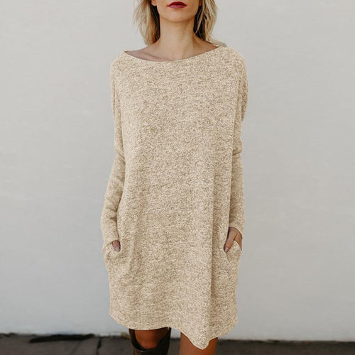 Round Neck Loose Long Batwing Sleeve Knitting Casual Dress