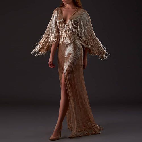 Noble Luxury Gold V-neck Tassel Slit Evening Dress